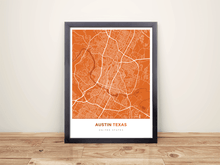 Framed Map Poster of Austin Texas - Simple Burnt - Austin Map Art