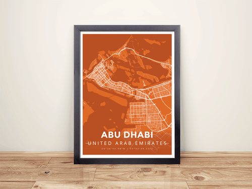 Framed Map Poster of Abu Dhabi United Arab Emirates - Modern Burnt - Abu Dhabi Map Art