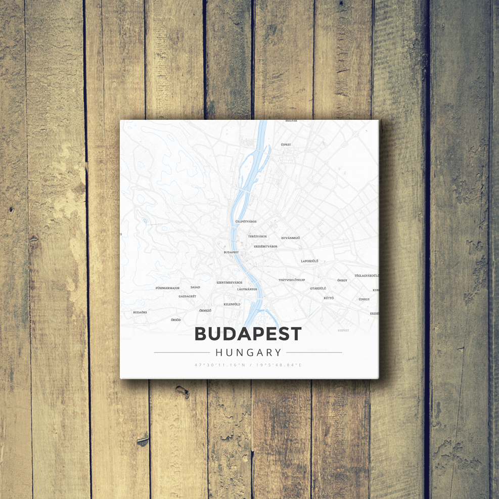 Gallery Wrapped Map Canvas of Budapest Hungary - Modern Ski Map - Budapest Map Art