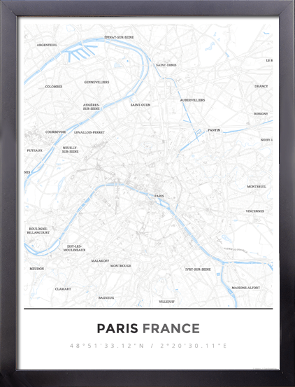framed map poster of paris france simple ski map