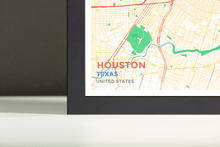 Framed Map Poster of Houston Texas - Subtle Colorful - Houston Map Art