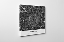 Gallery Wrapped Map Canvas of Milano Italy - Simple Contrast