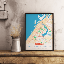 Premium Map Poster of Dubai United Arab Emirates - Modern Colorful - Unframed