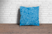 Map Throw Pillow of Milano Italy - Subtle Blue Contrast