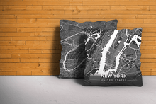 Map Throw Pillow of New York United States - Modern Contrast