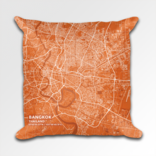 Map Throw Pillow of Bangkok Thailand - Subtle Burnt