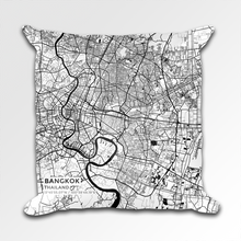 Map Throw Pillow of Bangkok Thailand - Subtle Black Ink
