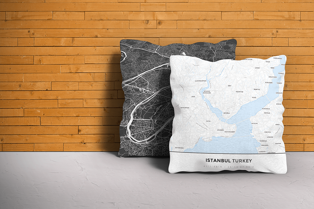 Map Throw Pillow of Istanbul Turkey - Simple Ski Map
