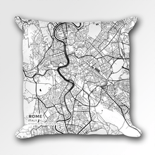 Map Throw Pillow of Rome Italy - Subtle Black Ink