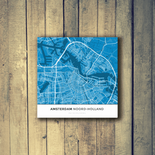 Gallery Wrapped Map Canvas of Amsterdam Noord-Holland - Simple Blue Contrast