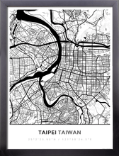 Framed Map Poster of Taipei Taiwan - Simple Black Ink