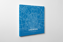 Gallery Wrapped Map Canvas of Chengdu Sichuan - Modern Blue Contrast - Chengdu Map Art
