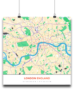 Premium Map Poster of London England - Simple Colorful - Unframed