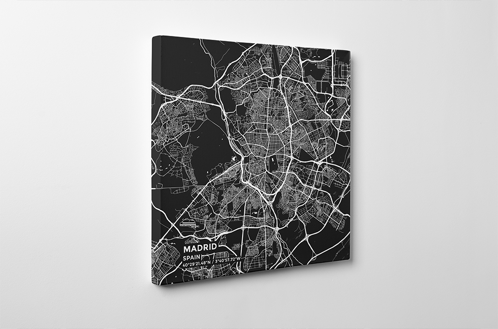 Gallery Wrapped Map Canvas of Madrid Spain - Subtle Contrast - Madrid Map Art