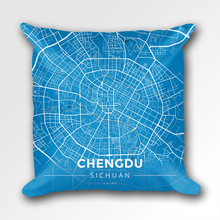 Map Throw Pillow of Chengdu Sichuan - Modern Blue Contrast - Chengdu Map Art