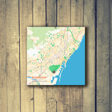 Gallery Wrapped Map Canvas of Barcelona Spain - Subtle Colorful
