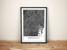 Premium Map Poster of Barcelona Spain - Simple Contrast - Unframed