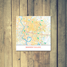 Gallery Wrapped Map Canvas of Bangkok Thailand - Simple Colorful