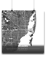 Premium Map Poster of Miami Florida - Modern Contrast - Unframed - Miami Map Art