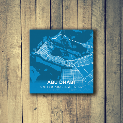 Gallery Wrapped Map Canvas of Abu Dhabi United Arab Emirates - Modern Blue Contrast - Abu Dhabi Map Art