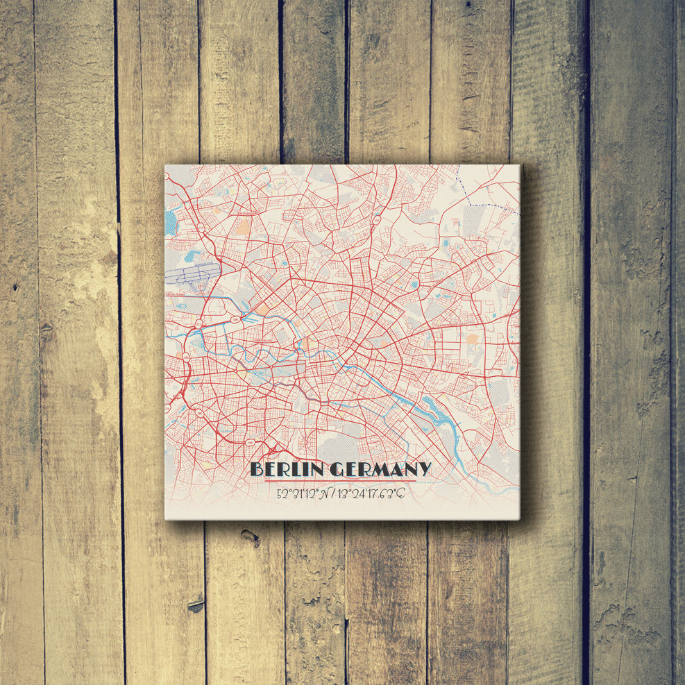 Gallery Wrapped Map Canvas of Berlin Germany - Map Art & Travel ...
