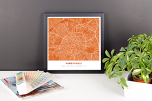 Framed Map Poster of Paris France - Simple Burnt