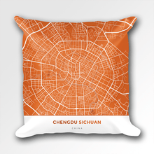 Map Throw Pillow of Chengdu Sichuan - Simple Burnt - Chengdu Map Art