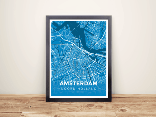 Framed Map Poster of Amsterdam Noord-Holland - Modern Blue Contrast