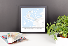 Framed Map Poster of Abu Dhabi United Arab Emirates - Simple Ski Map - Abu Dhabi Map Art