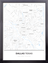 Framed Map Poster of Dallas Texas - Simple Ski Map - Dallas Map Art