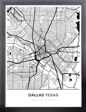 Framed Map Poster of Dallas Texas - Simple Black Ink - Dallas Map Art