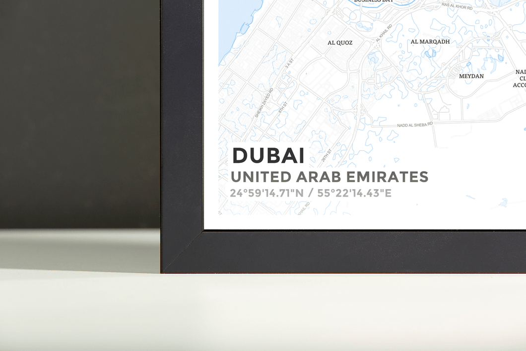 Framed Map Poster of Dubai United Arab Emirates - Subtle Ski Map