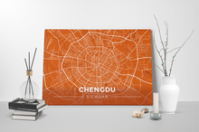 Gallery Wrapped Map Canvas of Chengdu Sichuan - Modern Burnt - Chengdu Map Art