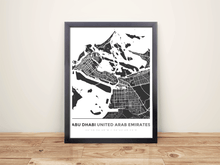 Framed Map Poster of Abu Dhabi United Arab Emirates - Simple Contrast - Abu Dhabi Map Art