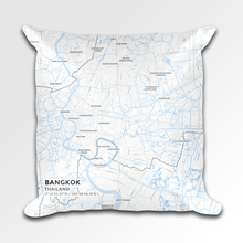 Map Throw Pillow of Bangkok Thailand - Subtle Ski Map