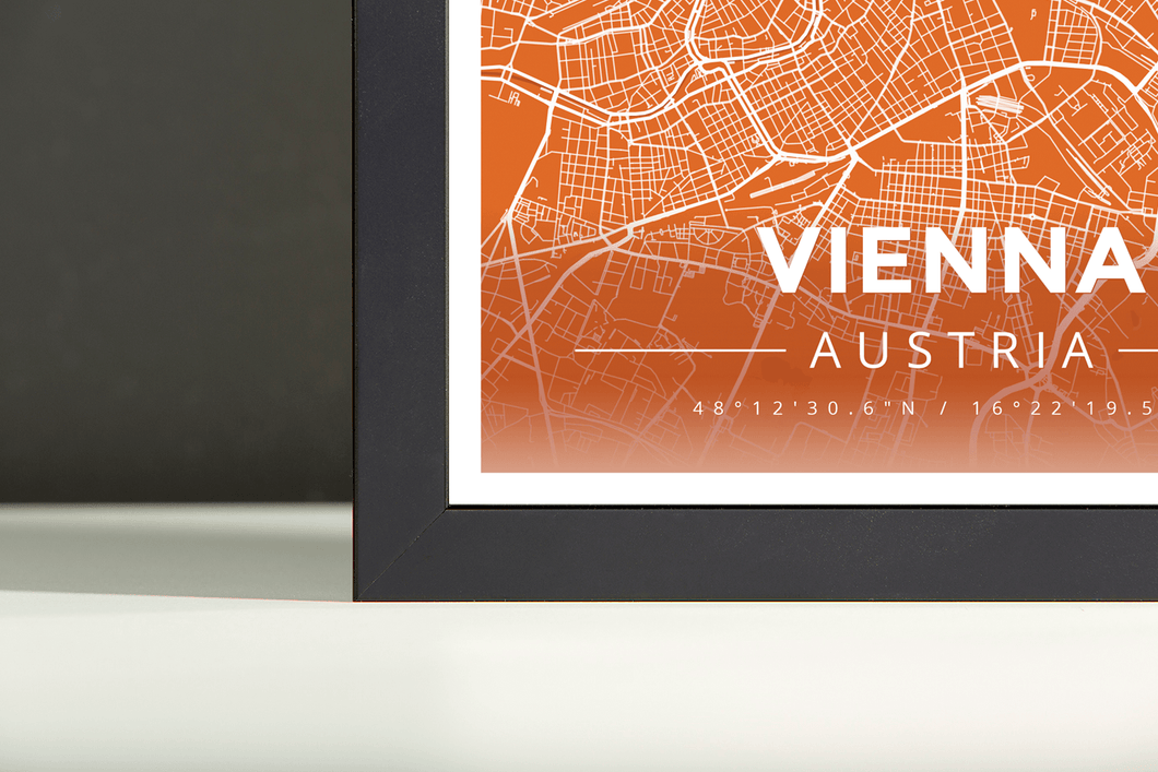 Framed Map Poster of Vienna Austria - Modern Burnt