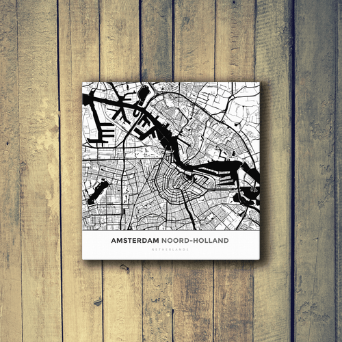 Gallery Wrapped Map Canvas of Amsterdam Noord-Holland - Simple Black Ink