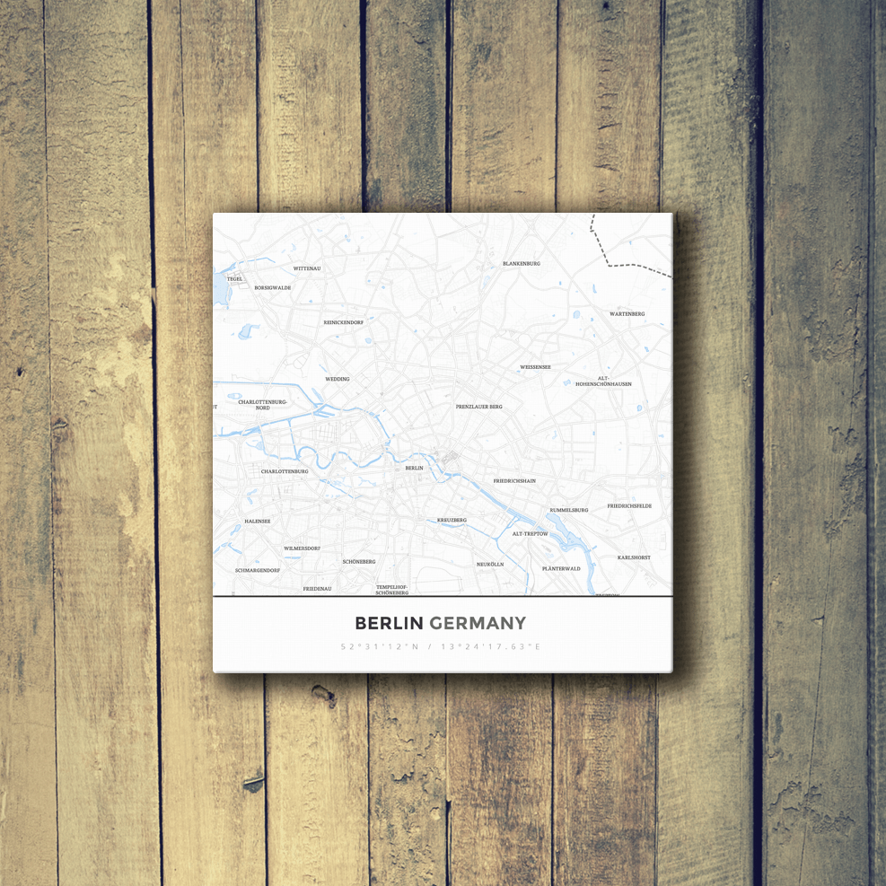 Gallery Wrapped Map Canvas of Berlin Germany - Simple Ski Map - Berlin Map Art