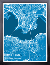 Framed Map Poster of Hong Kong China - Subtle Blue Contrast