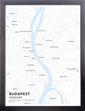 Framed Map Poster of Budapest Hungary - Subtle Ski Map - Budapest Map Art