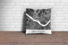 Map Throw Pillow of Seoul South Korea - Simple Contrast