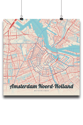 Premium Map Poster of Amsterdam Noord-Holland - Lobster Retro - Unframed - Amsterdam Map Art