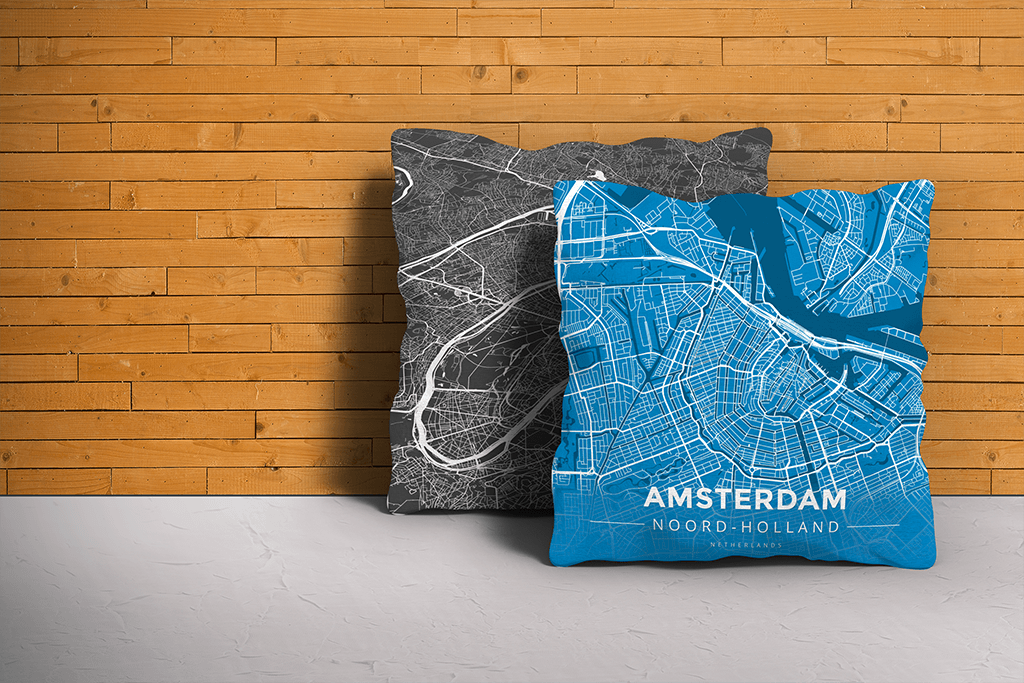 Map Throw Pillow of Amsterdam Noord-Holland - Modern Blue Contrast