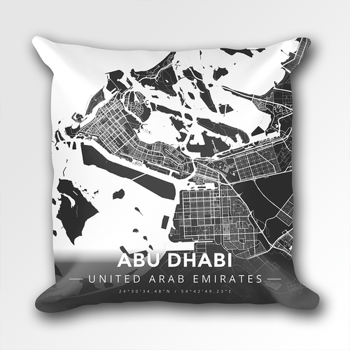 Map Throw Pillow of Abu Dhabi United Arab Emirates - Modern Contrast - Abu Dhabi Map Art