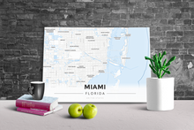 Gallery Wrapped Map Canvas of Miami Florida - Modern Ski Map - Miami Map Art