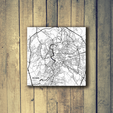 Gallery Wrapped Map Canvas of Rome Italy - Subtle Black Ink