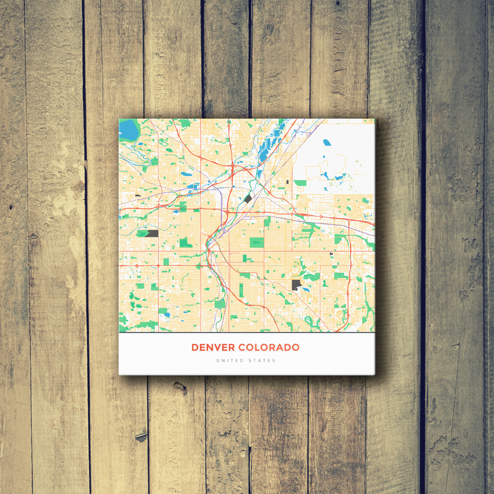 Gallery Wrapped Map Canvas of Denver Colorado - Map Art & Travel ...