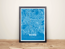 Framed Map Poster of Rome Italy - Modern Blue Contrast