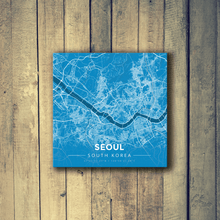 Gallery Wrapped Map Canvas of Seoul South Korea - Modern Blue Contrast