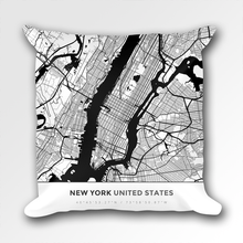 Map Throw Pillow of New York United States - Simple Black Ink